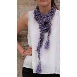 écharpe tricotée main artisanale laine soie filé au rouet