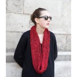snood tricoté main artisanal laine filée au rouet