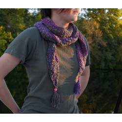 écharpe tricotée main artisanale laine française filée au rouet