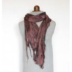 écharpe feutre artisanal fait main laine soie cobweb felt
