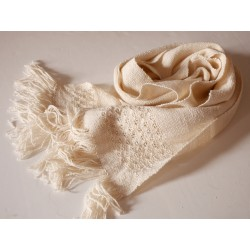 écharpe tissée main artisanale laine soie fil filé au rouet