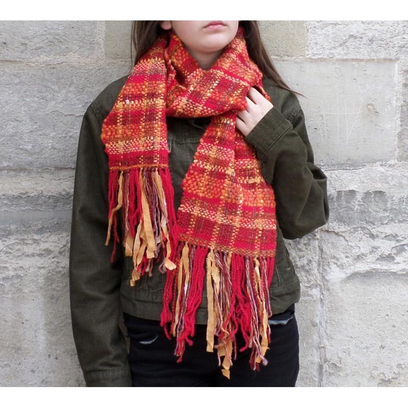 """qualité parfaite couleur rapide qualité fiable """"Mandarine"""" : écharpe fantaisie tissée main en fil artisanal"""